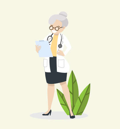 elderly old woman Doctor  with a stethoscope vector