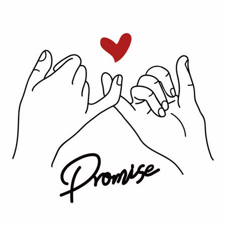 Promise outline vector with red heart sign