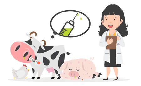 Young veterinarian woman standing together with hen , cow, pig Healthcare
