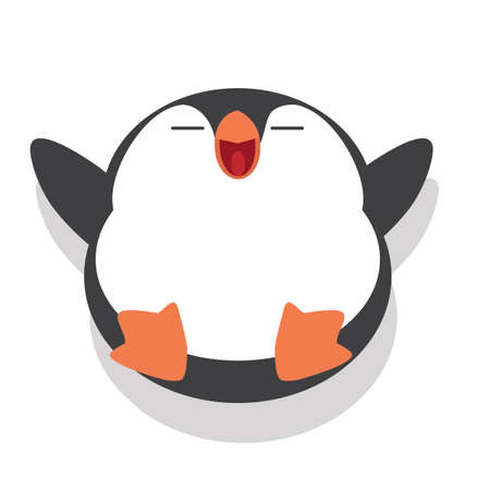 Cute penguin fat sleeping Cartoon Vector Illustration