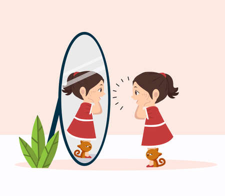little girl with cat standing in front of the mirror concept