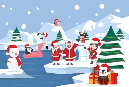 North pole Arctic landscape christmas background vector