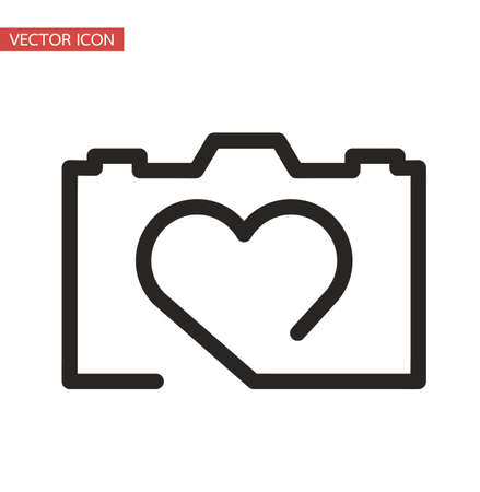 one line doddle camera sign vector eps10