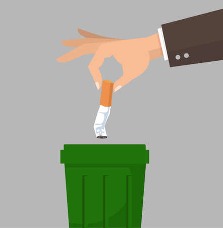 Hand putting cigarettes in trash bin concept flat style 矢量图像