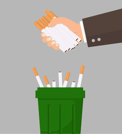 Hand putting cigarettes in trash bin vector 矢量图像