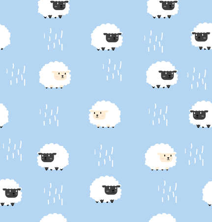 white sheep and black sheep pattern seamless background