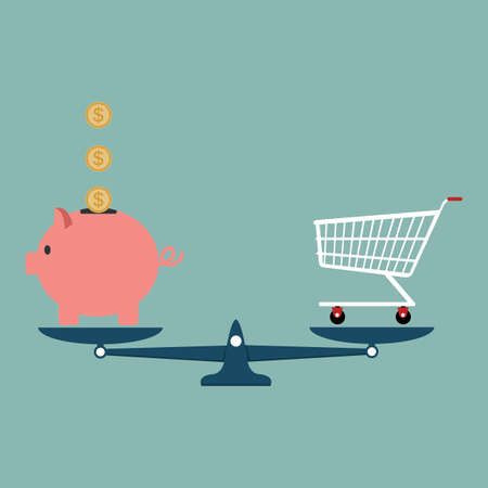 Piggy Bank with shopping cart on weighing machine eps10 Vektorové ilustrace