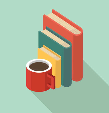 Red coffee mug with book of Stacks concept Çizim
