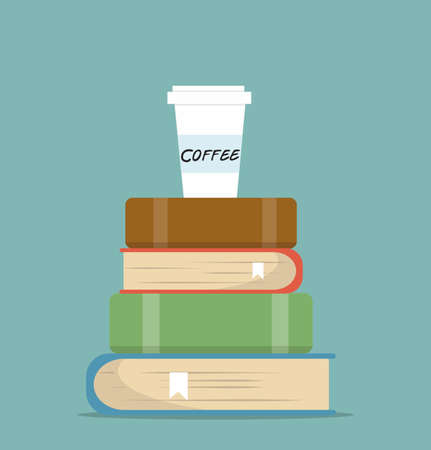 book of Stacks with coffee in flat design vector Çizim