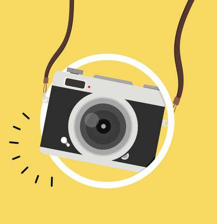 Hanging camera with circle vector