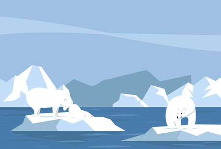 Global warming  with Polar bear and cub concept background
