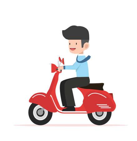 businessman drives to work Flat design vector