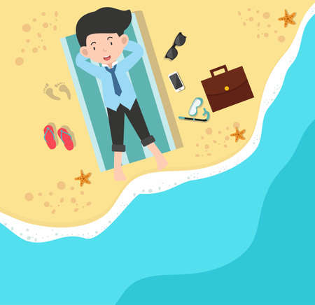 businessman happy on Beach in a top view  イラスト・ベクター素材