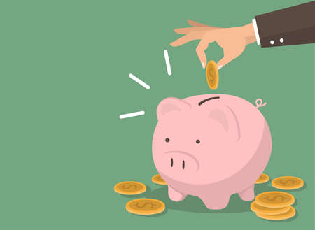 Hand putting coin with Piggy bank money savings concept of growth vector Illustration
