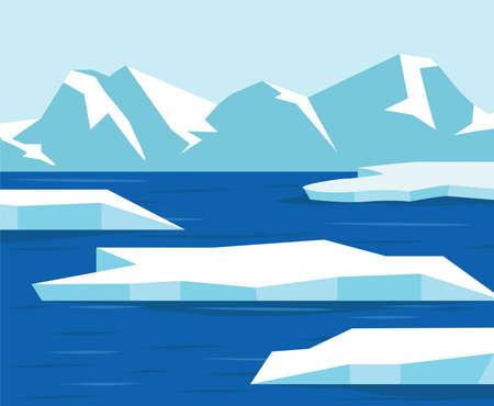 North pole  Antarctica landscape view on iceberg Çizim