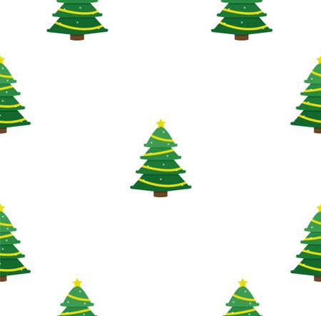 Christmas Tree flat design seamless pattern background