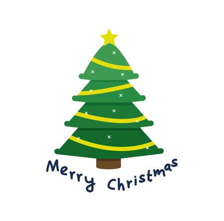 Christmas Tree flat design Vector eps10 Çizim