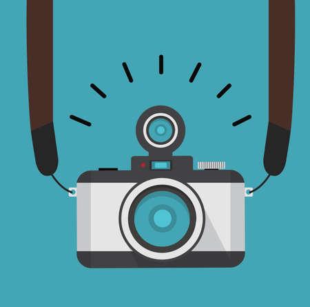 retro photo camera  with strap