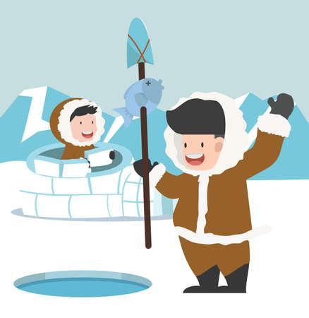 Eskimo fishing with building an igloo ice house concept