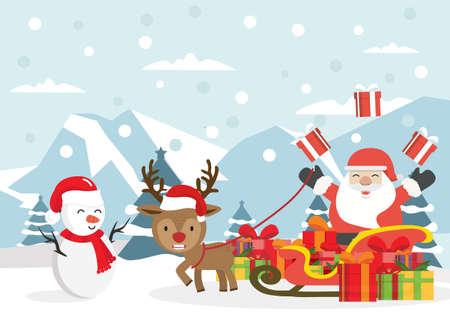 Winter  Arctic Christmas Santa Claus with sleigh vector Çizim