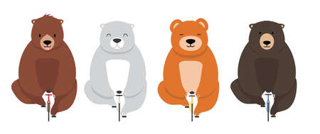 Sweet and cute bear on a bicycle set vector