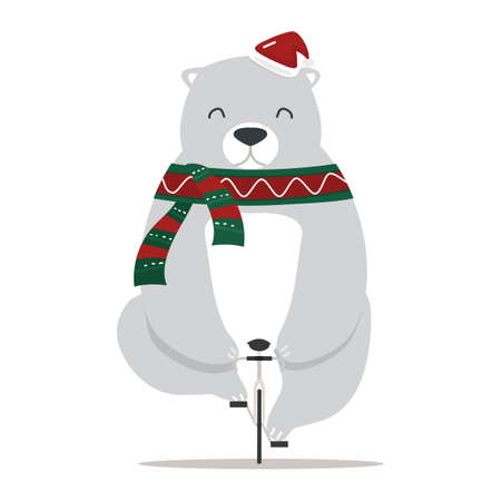 Cute bear with santa hat on a bicycle vector