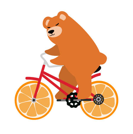 Brown bear  riding on a red retro bicycle vector Çizim