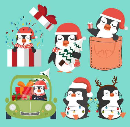 Cute penguins cartoon Christmas set vector Çizim