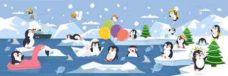 North pole Arctic family penguins background landscape Çizim