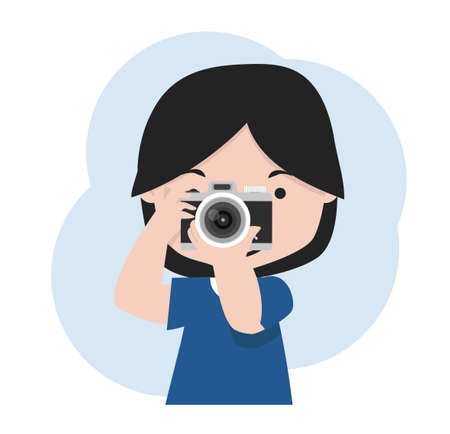 little girl with camera is taking pictures cartoon