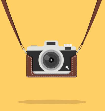 hanging vintage camera with case vector Çizim