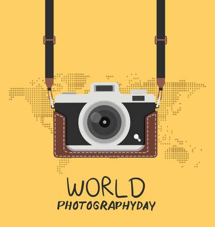hanging vintage camera with case world photography background Çizim