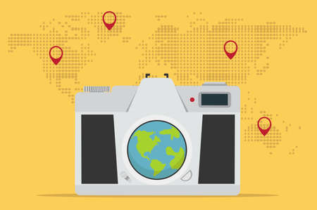 Retro camera  with world map background vector