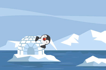 North pole Arctic penguin with igloo ice house vector