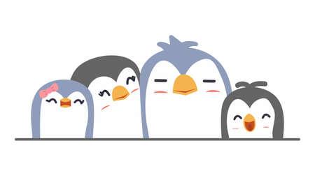 Cute penguin family on isolate background vector Çizim