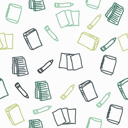 Hand drawn books icon seamless pattern