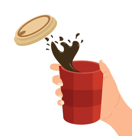 hand holding paper coffee cup vector Çizim