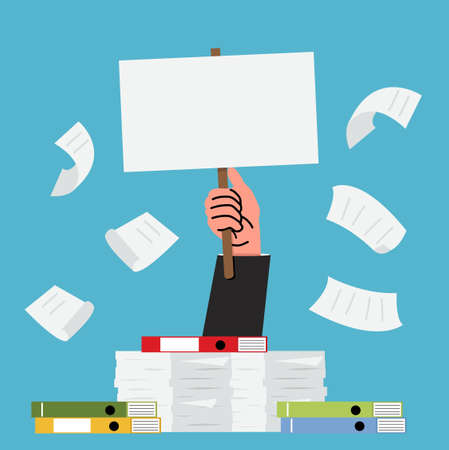 businesshand with pile of paper a lot of documents vector