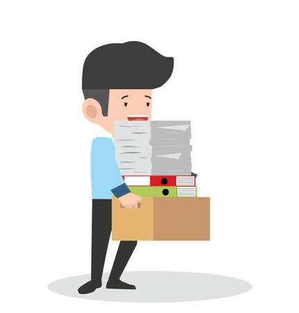 businessman holding a lot of documents  his hands vector
