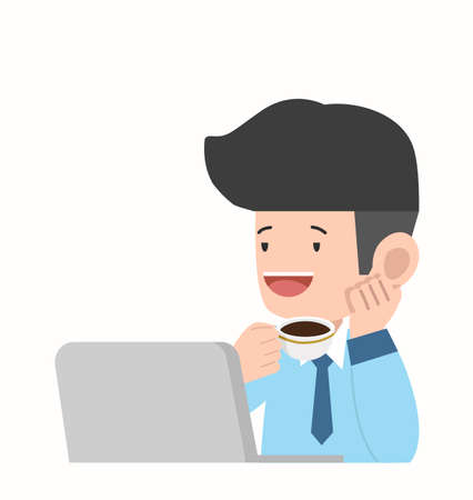 Businessman drinking coffee Vector character concept