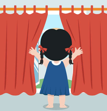Rear back Happy girl opening window curtains vector
