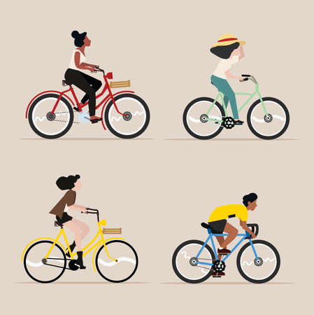 happy People riding a bicycle vector set Çizim