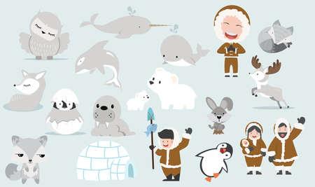 Arctic collection set cartoon vector flat design