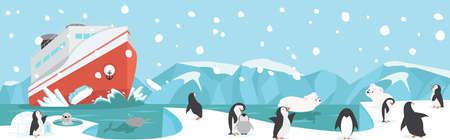 Winter North pole Arctic with animals landscape Çizim