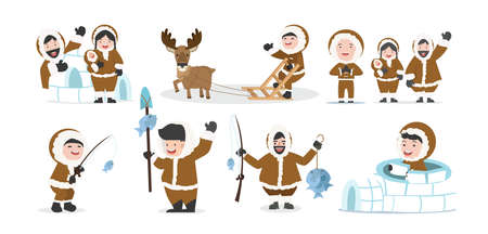 set of eskimos people family vector