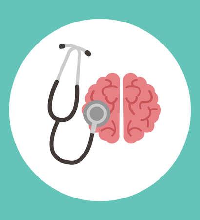 Human brain with stethoscope icon vector Çizim