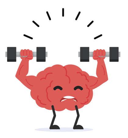 Human Strong brain lifting dumbbells vector Çizim