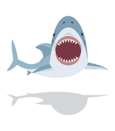 Cute flat Shark open mouth and teeth vector