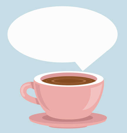Cup of Fresh Coffee with bubble speech vector Çizim