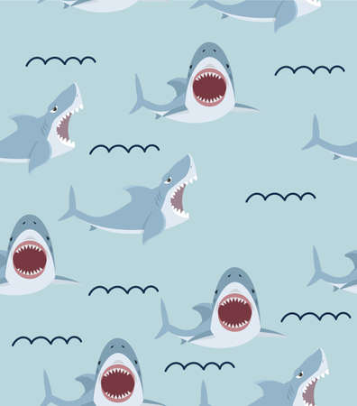 Cute flat Shark open mouth and teeth pattern